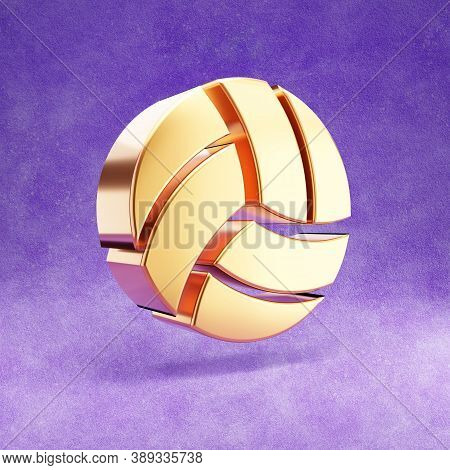 Volleyball Icon. Gold Glossy Volleyball Symbol Isolated On Violet Velvet Background. Modern Icon For