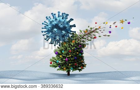 Christmas Virus And Winter Season Disease Concept As A Cancelled Holiday Seasonal Decorated Tree Sym