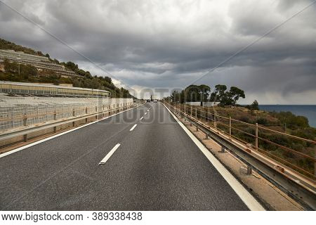 Highway with viaducts through the hilly landscapes of the Italian Riviera