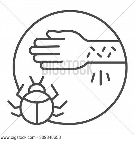 Hand With Irritate Skin And Beetle Thin Line Icon, Allergy Symptoms Concept, Allergy To Beetles Sign
