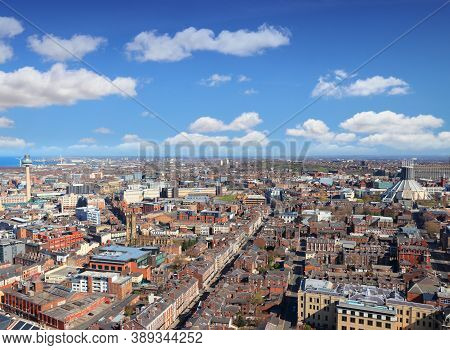 Liverpool Aerial View. City In The United Kingdom.
