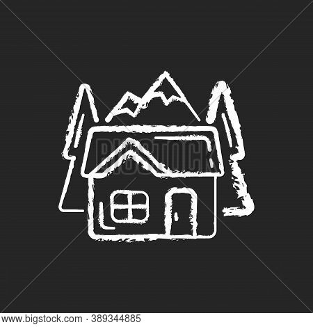 Bothy Chalk White Icon On Black Background. Mountain Cabin. Wilderness Hut. Hiking And Mountain Recr