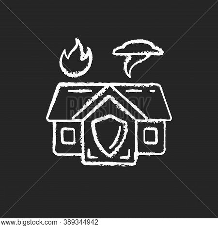 Emergency Shelter Chalk White Icon On Black Background. Temporary Residence. Natural Disasters. Dome