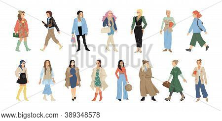 Set Of Women Characters In Different Clothes On A White Background. Vector Illustration