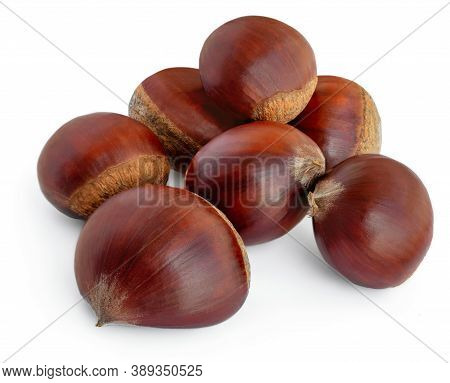 Chestnuts  Isolated On White Background. Chestnut Top View. Flat Lay