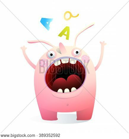 Monster Mascot Shouting Screaming Mouth Wide Open. Bizzare Creature Waving And Calling Funny Kids Ve