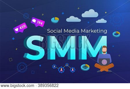 Smm - Social Media Marketing Technology Concept. Digital Online Advertising Campaign With Likes, Fol