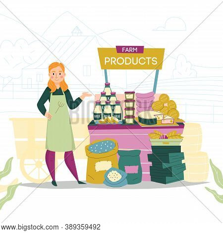 Natural Product Seller Composition With Outdoor Stall Filled With Farm Products And Female Character