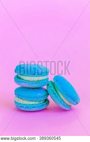 Sweet Almond Colorful Unicorn Blue Macaron Or Macaroon Dessert Cake Isolated On Trendy Pink Pastel B