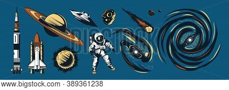 Space Color Hand Drawn Set Of Cosmonaut In Spacesuit Spaceship Rocket Comet Planet Isolated On Blue