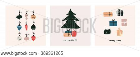 Christmas Mood Greeting Card Poster Template. Welcome Winter Season Xmas Holiday Invitation. Minimal