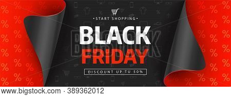 Black Friday Sale Design Template. Black Friday Sale Inscription On Shopping Icons. Vector Illustrat