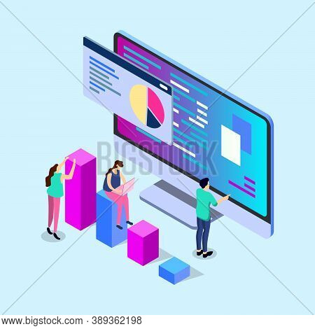 Mobile Report Analysis Tool App Flat 3d Isometry Isometric Business Concept Web Vector Illustration.