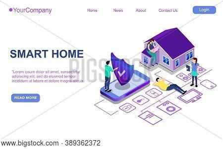 Website Landing Page, Promotion Poster, Flyer Or Brochure Concept For Smart Home Digital Technologie