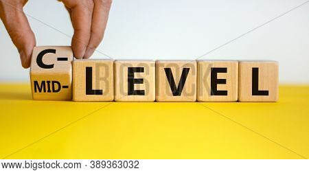 From Mid Level To C Level. Hand Turns A Cube And Changes The Words 'mid Level' To 'c Level'. Beautif