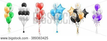 Set Of Color Balloons Bunches Isolated Icons. Vector Bundles Of Cartoon Balloons In Shape Of Stars,