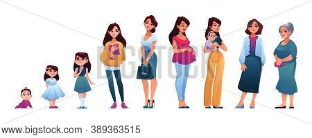 Sequences Of Woman Life Stages Isolated. Vector Female Age, Character Of Woman In Different Periods