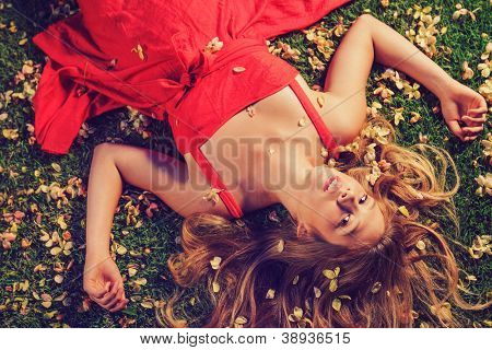 Beautiful Young Woman Lying on Grass with Flowers