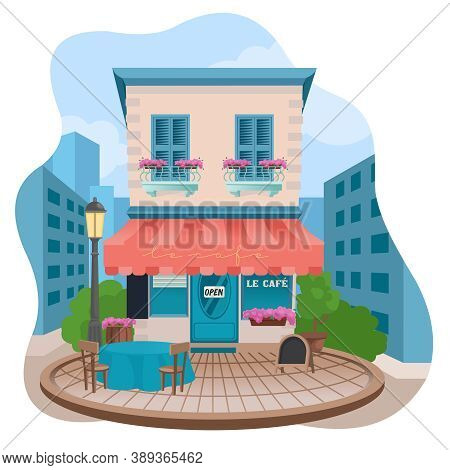 Cartoon Color Facade Of Tavern Building On A Street Concept Architecture Construction Flat Design St