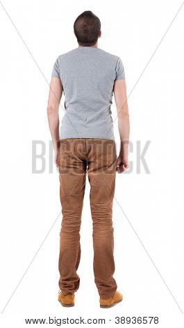 Back view of handsome man in shirt and jeans  looking up.   Standing young guy. Rear view people collection.  backside view of person.  Isolated over white background. poster