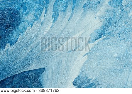 Beautiful Abstract Pattern With Blue Frosty Pattern On Light Background For Paper Design. Snow Winte