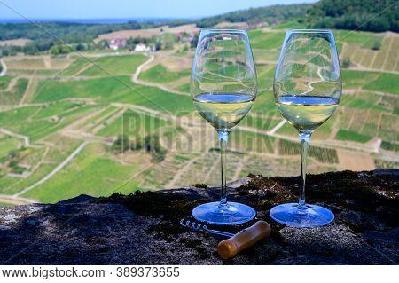 Tasting Of White Or Jaune Jura Wine On Vineyards Near Chateau-chalon Village In Jura Region, France