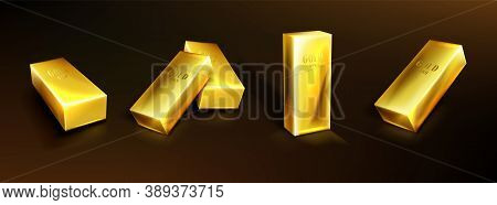 Golden Bars, Yellow Metal Ingots. Concept Of Money Investment, Solid Currency, Financial Reserve. Ve