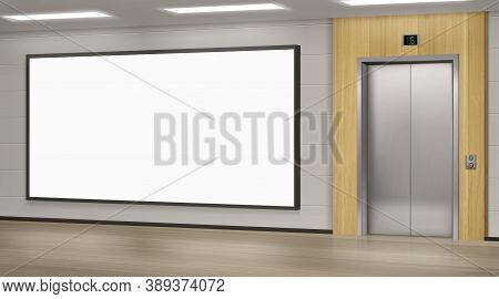 Realistic Elevator With Close Doors And Ad Poster Screen On Wall, Perspective View Mockup. Office Or
