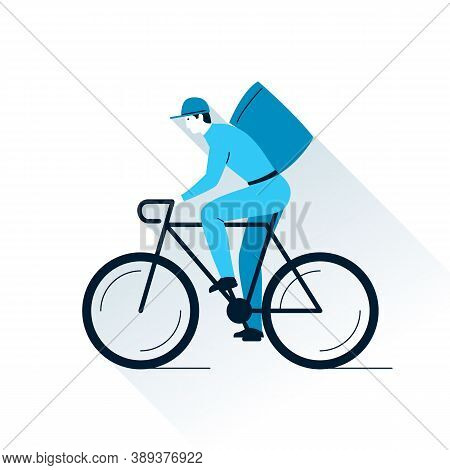 Bike Delivery Flat Illustration. Courier Delivery Man On Bicycle With Parcel Box On The Back. Vector