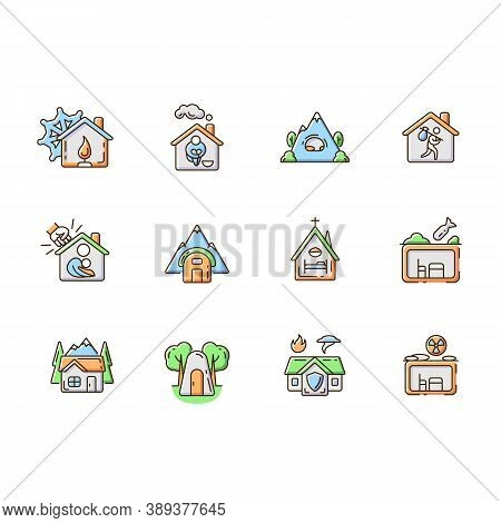 Shelters Types Rgb Color Icons Set. Building. Safety And Retreat Place. Transitional Shelter. Suppor