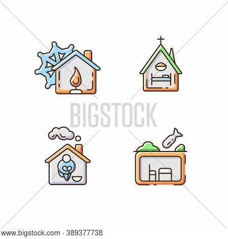Temporary Supportive Housing Rgb Color Icons Set. Warming Center. Religious Shelter. Church. Undegro