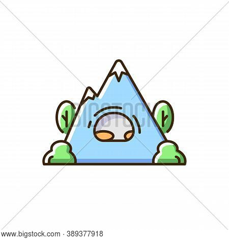 Rock Shelter Rgb Color Icon. Rockhouse. Crepuscular Cave. Hiking. Bluff Shelter. Shallow Cave-like O