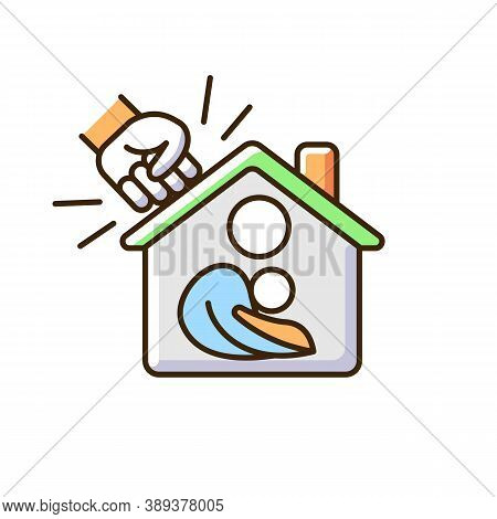 Women Shelter Rgb Color Icon. Safe Accommodation. Families Support. Supportive Housing. Domestic Vio