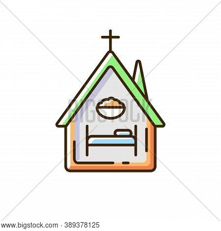 Religious Shelter Rgb Color Icon. Night Time Shelter Opportunity. Church. Synagogue. Homeless Preven