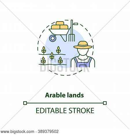 Arable Lands Concept Icon. Farm Production Types. Cultivated Fields For Growing Foods. Farming Indus