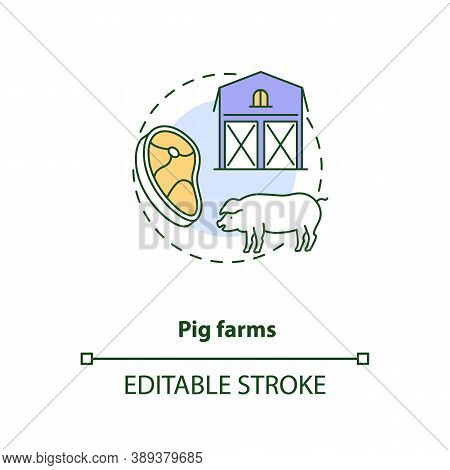 Pig Farms Concept Icon. Farm Production Types. Healthy Meat. Mamal Ranch. Animal Foods Production Id