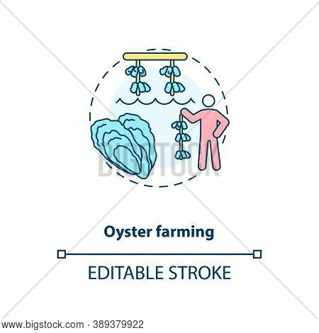 Oyster Farming Concept Icon. Luxury Seafoods Growing. Healthy Organic Foods. Shellfishes Production.