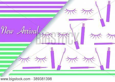 Vector Illustration New Arrival Sale Decorative Cosmetics Makeup Eyelashes Mascara  Promotional Back