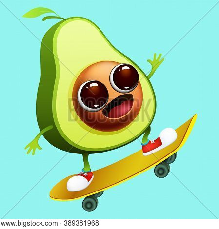 Funny Emotional Cartoon Avocado On Skateboard On Blue Background.  Healthy Food And Sport. Vector Il