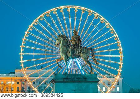 Place Bellecour Statue Of King Louis Xiv By Night, Lyon France