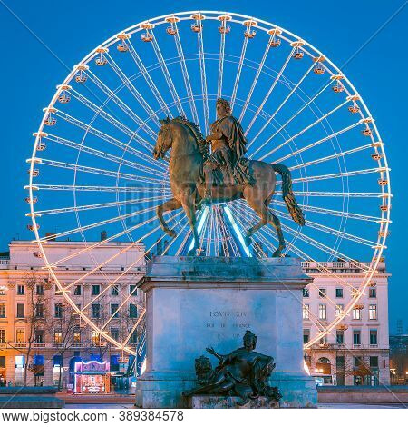 View Of Place Bellecour Statue Of King Louis Xiv By Night, Lyon France