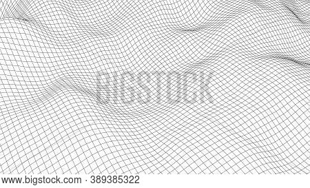 Vector Curved Perspective Grid. Detailed Lines Forming An Abstract Background