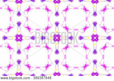 Seamless Aquarelle Pattern. Artistic Ethnic Tile Design. Colorful And White Color. Aquarelle Tie Dye
