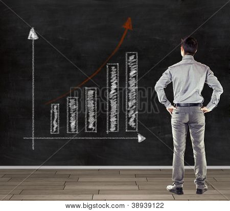 young business man in front of a blackboard presenting a trend business chart