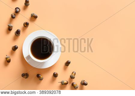 Acorn Coffee Substitute Caffeine On Beige Table. View From Above. Space For Text.