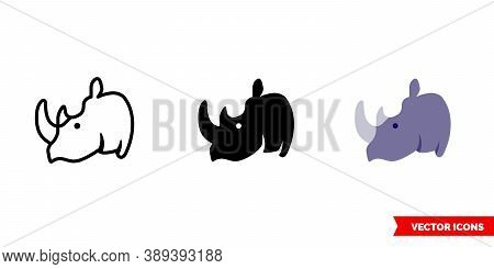 Rhinoceros Icon Of 3 Types Color, Black And White, Outline. Isolated Vector Sign Symbol.