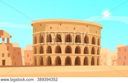 Cartoon Background With Rome Coliseum And Ancient Buildings Vector Illustration
