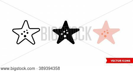 Starfish Icon Of 3 Types Color, Black And White, Outline. Isolated Vector Sign Symbol.