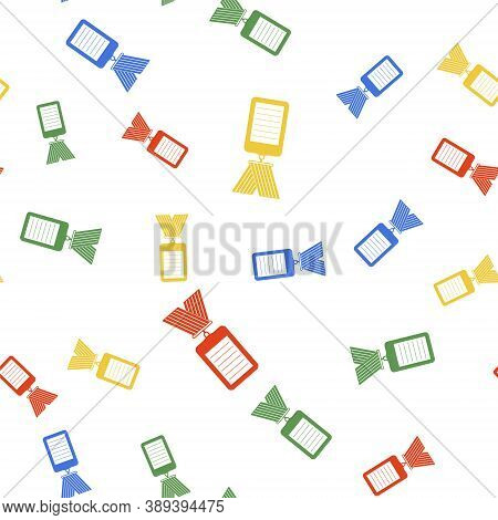 Color Identification Badge Icon Isolated Seamless Pattern On White Background. Identification Card.