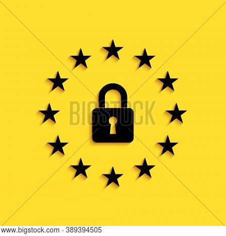 Black Gdpr - General Data Protection Regulation Icon Isolated On Yellow Background. European Union S